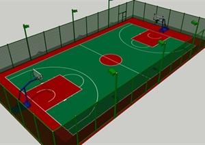 篮球场带铁丝网围栏SU(草图大师)模型