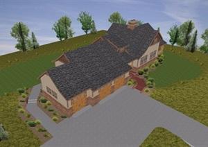 英式风格民居多层住宅详细建筑设计SU(草图大师)模型
