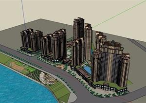 欧式风格详细的住宅小区建筑楼SU(草图大师)模型