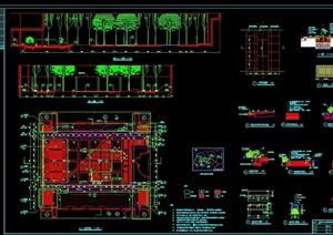 某现代详细的园林景观庭院素材设计cad施工图