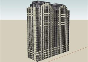 现代风格详细的完整高层住宅楼设计SU(草图大师)模型