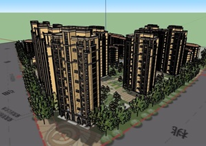 欧式风格详细的小区住宅楼设计SU(草图大师)模型