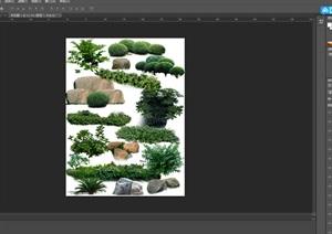 園林景觀中灌木色塊石頭ps素材