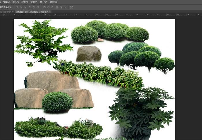 园林景观中灌木色块石头ps素材(3)