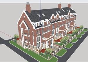 英式风格详细多层住宅楼设计SU(草图大师)模型
