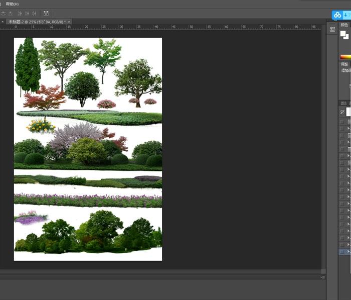 园林景观中乔木色块组景ps素材(1)