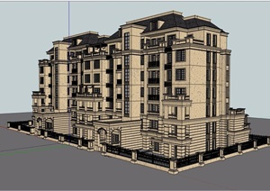 法式多层洋房住宅建筑楼设计SU(草图大师)模型