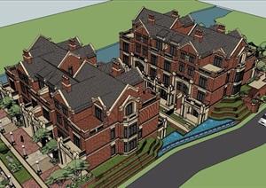 欧式风格详细的完整住宅小区建筑SU(草图大师)模型