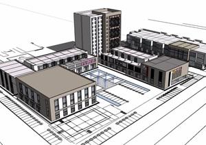 某现代风格商业办公综合楼设计SU(草图大师)模型