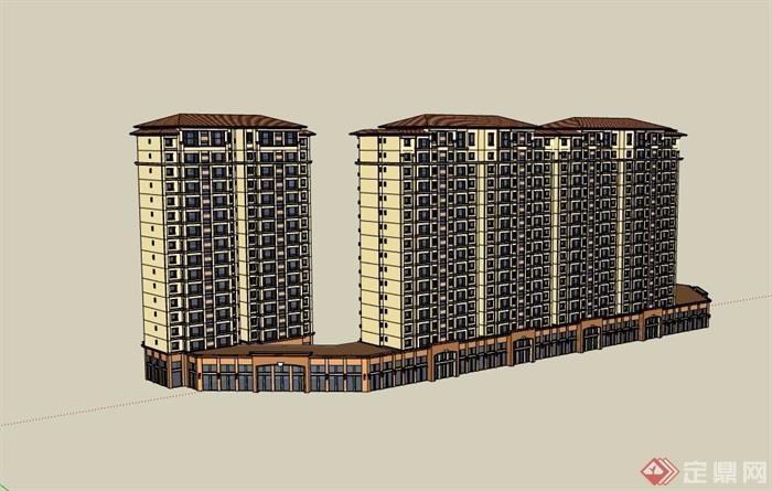 欧式风格详细的完整商业住宅楼设计su模型