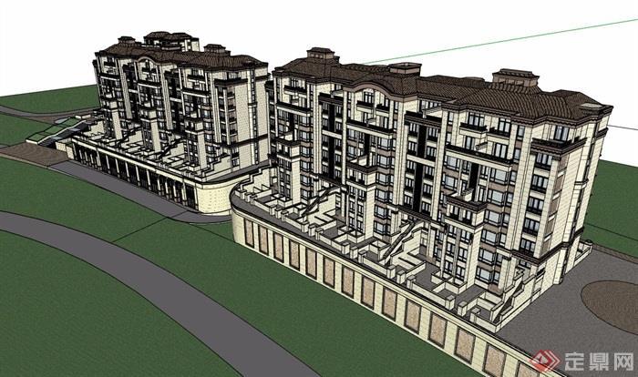 欧式风格详细的完整商住楼设计su模型