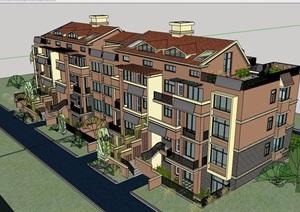 详细的完整欧式风格详细的住宅洋房设计SU(草图大师)模型