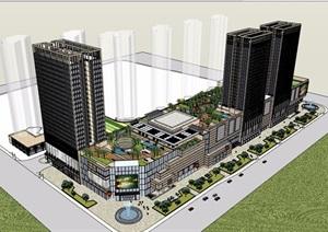 某现代风格详细的完整商业办公建筑楼设计SU(草图大师)模型