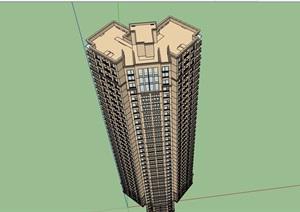 某现代风格详细的高层居住建筑楼设计SU(草图大师)模型