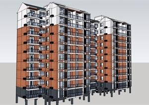 某中式风格多层住宅详细完整建筑设计SU(草图大师)模型