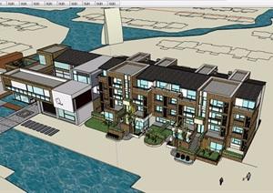 某详细的完整多层住宅小区建筑楼设计SU(草图大师)模型