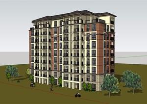 欧式风格详细的洋房住宅小区建筑楼设计SU(草图大师)模型