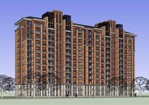 简欧风格小高层住宅楼建筑设计SU(草图大师)模型