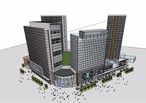 现代城市综合体商业办公建筑楼设计SU(草图大师)模型