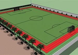 某现代风格详细的运动足球场设计SU(草图大师)模型