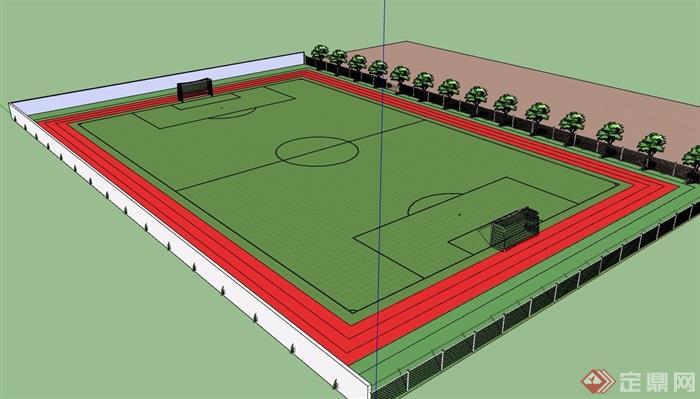 某现代风格详细的运动足球场设计su模型