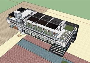 现代风格详细多层会所完整建筑设计SU(草图大师)模型
