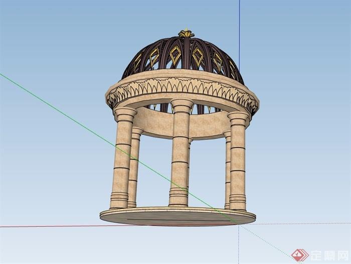欧式景观亭完整详细设计su模型