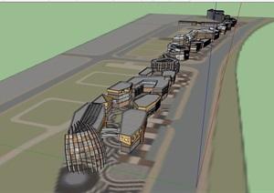 一商业街多层详细建筑设计SU(草图大师)模型