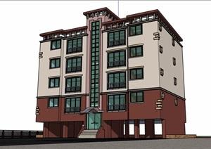 现代风格详细的四层办公建筑楼设计SU(草图大师)模型