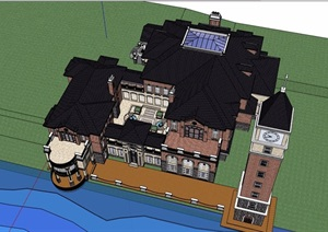 欧式风格详细的私人会所建筑设计SU(草图大师)模型