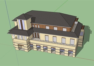 欧式风格详细的三层商务会所SU(草图大师)模型
