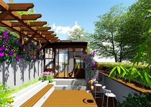 露台花园景观设计su模型2