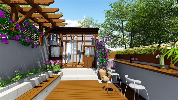 露台花园景观设计su模型2(2)