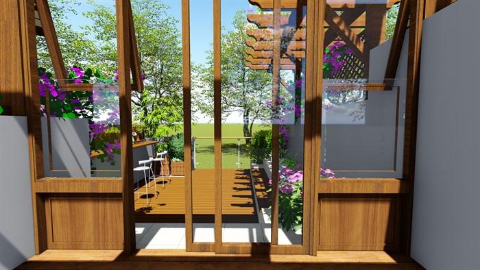 露台花园景观设计su模型2(5)