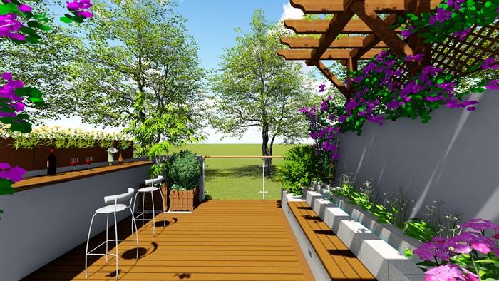 露台花园景观设计su模型2(6)