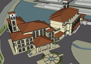 欧式风格详细的完整滨水会所详细完整设计SU(草图大师)模型