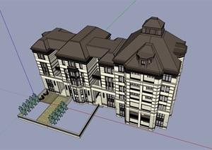 欧式风格详细的多层住宅楼设计SU(草图大师)模型