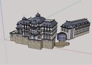 欧式风格详细的多层山地会所设计SU(草图大师)模型