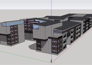 中式风格详细的商业中心建筑楼SU(草图大师)模型