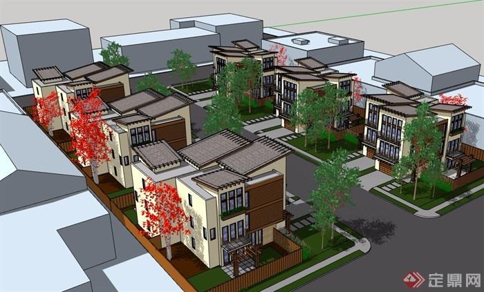 现代别墅完整的详细住宅小区风格v别墅su别墅模型吴尔愉图片