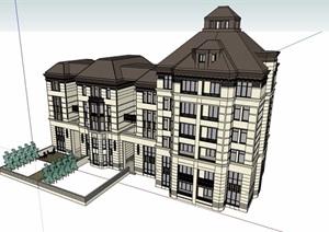法式风格多层住宅楼设计SU(草图大师)模型