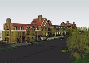 某欧式风格商业街多层建筑楼设计SU(草图大师)模型