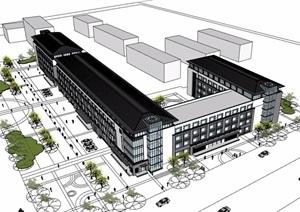 中式风格详细多层商业中心建筑设计SU(草图大师)模型