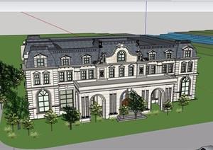 欧式风格详细的多层完整会所设计SU(草图大师)模型
