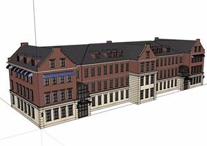某欧式风格三层详细的商务会所设计SU(草图大师)模型