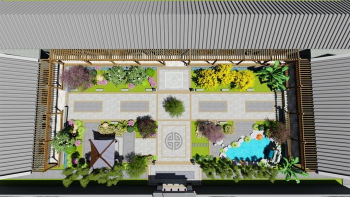 中式四合院庭院花园景观设计su模型(1)