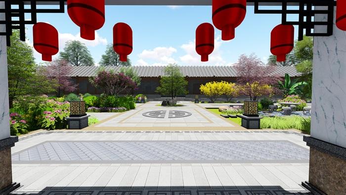 中式四合院庭院花园景观设计su模型(2)