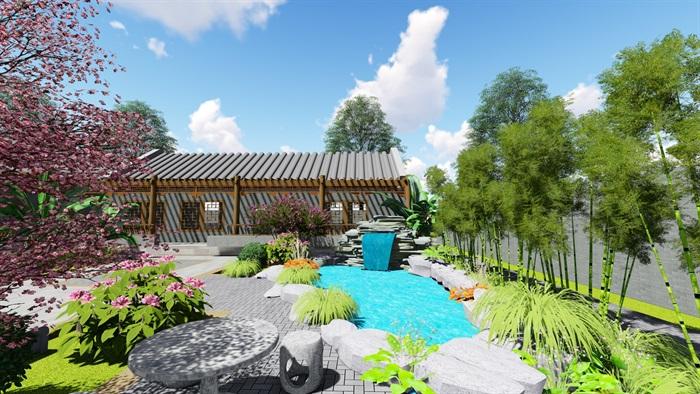 中式四合院庭院花园景观设计su模型(4)