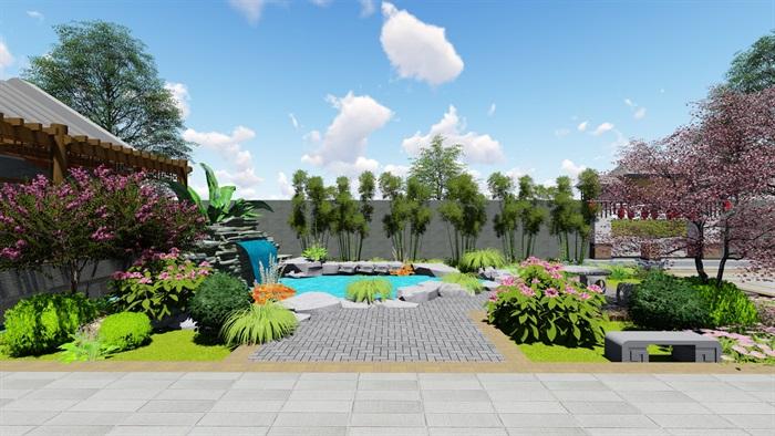 中式四合院庭院花园景观设计su模型(5)