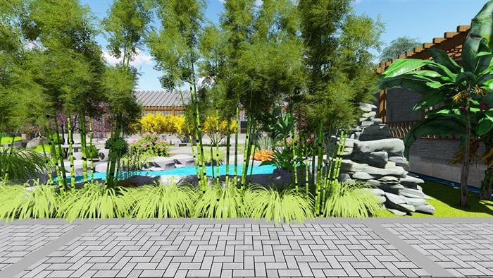 中式四合院庭院花园景观设计su模型(6)